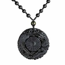 1pcs Lucky Pendant Necklace Natural Obsidian Carved Chinese Dragon Phoenix BaGua