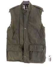 Mens Waxed Hunting Gilet / Bodywarmer - Large - Olive Green, Made In England