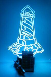 Lighthouse Nautical Night Light Table Desk Lamp Decor LED Personalized & Remote