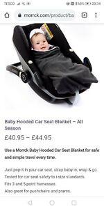Morrck baby hooded car seat blanket