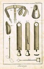 Diderot Enclyclopedie  CHIRURGIE PLATE 1 (SURGERY TOOLS) Antique Engraving -1751