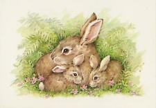 VINTAGE MOTHER BUNNY RABBIT BABY KITS COTTONTAIL PINK FLOWER NOTE CARD ART PRINT