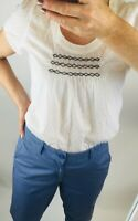 £37 Mistral White Dobby Cotton Boho Smocking Scoop Neck Cap Sleeve Blouse Top