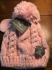 Laura Ashley Pink Baby Girl Pom Pom Winter Hat and Mittens Set Size 6 -12 Month