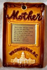 Mother's Home hanging wall Plaque Washington D.C. souvenir made in Japan 7x4