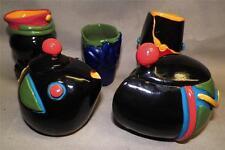 OOAK UNIQUE MINI FREE STYLE Signed Clay Multi-Color CREAMER/SUGAR BOWL & 3 CUPS