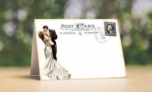 BRIDE & GROOM POSTCARD TENT STYLE WEDDING PLACE CARDS or TABLE CARDS #188
