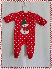 Lot de 2 Pyjamas Dors Bien Rouge à Pois  Blancs  Bonhomme de Neige 1 Mois Neufs
