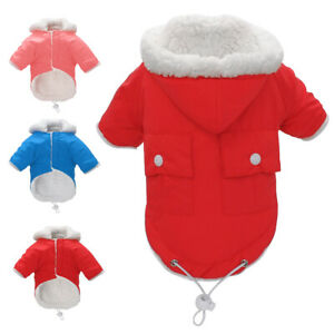 Waterproof Pet Winter Clothes Warm Dog Fleece Hoodie Coat Puppy Jacket Pink Coat