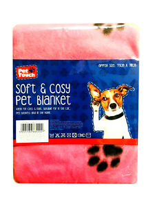 Soft Comfy Pet Blanket for Dog Cat Puppy Paw Printed Bed Car Fluffy Plush Winter