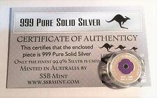 """2018 """"Animals Armistice"""" 1/10th OZ 999 Pure Silver Coin, C.O.A. Purple Poppy."""