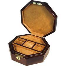 Octagonal Laminated Mahogany Jewellery Box with Lift Out Tray