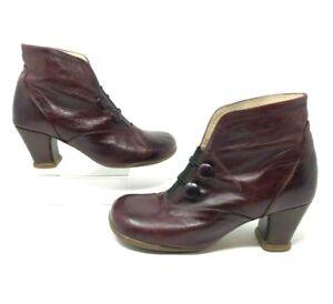 John Fluevog Minstrel Giulia Operettas Dark Red Leather Ankle Boots sz 6.5