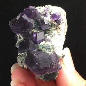Rare transparent blue cube fluorite mineral crystal specimen/China