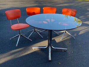 Vintage Modern Kitchen Table and Chairs, Smoked Round Table and 4 Orange Chairs