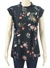 WOMENS LADIES EX HIGH STREET BLACK FLORAL STRAP TOP/TUNIC TOP - SHORT SLEEVE