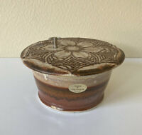 CHRIS STENDER Artist Made Music Box Brown Pottery Bowl w/ Lid Glazed SIGNED EUC
