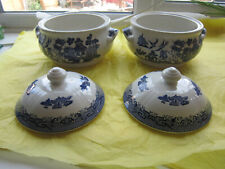 2x BLUE WILLOW CHURCHILL ROUND COVERED TUREEN VEGETABLE DISH