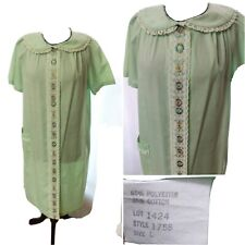 Vintage Green Floral Embroidered Snap Robe Nightgown Housecoat Lace Grandma L