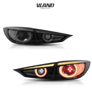 VLAND LED Tail Lights Smoked Fit For 2014-2018 Mazda 3 sedan Sequential Assembly