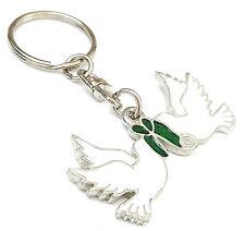 Turtle Doves Peace Christmas Enamel Key Ring + Gift Bag