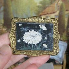Antique Dollhouse FLORAL TRAY PICTURE Ormolu? Frame Miniature Victorian Painting