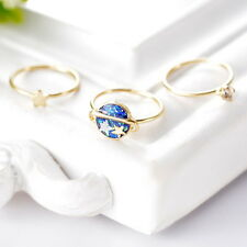 1Set 3pcs New Girls Womens Enamel Universe Stars Knuckle Rings Band Midi Rings