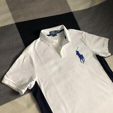 Polo Ralph Lauren Big Pony White Navy Blue Contrast Men's Polo Shirt L