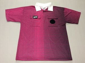 OFFICIAL SPORTS SOCCER PINK GRID CHECKERED REFEREE JERSEY MENS LARGE WITH POCKET