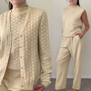 St. John 3pc Knit Set Outfit Marie Gray Top Pant Cardigan Cream Neutral Large