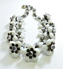 Vintage White Flowers Clear Leaves Lampwork Art Glass Bead Necklace Fe20447