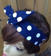 Blue with White Polka Dots Wired Headband Wired Dolly Bow Rosie the Riveter