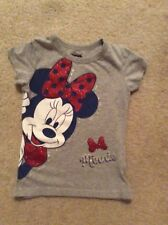 Disney Minnie Mouse Girl's Glitter Bow Gray Shirt Size 5