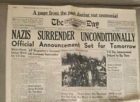 1945--NAZIS SURRENDER--Reproduction (WWII ) Newspaper