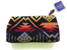 New Pendleton Black Southwestern Wool Leather Small Cosmetic Toiletry Travel Bag