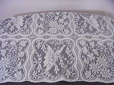 Vintage Ivory Lace Tablecloth Butterflies Square 46x46 in. Romantic Cottage NEW