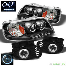 For 99-03 Ford F150 LED Black Projector Headlights+Halo Projector Fog Lamp Pair