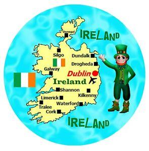IRELAND MAP / FLAG - LARGE ROUND SOUVENIR NOVELTY FRIDGE MAGNET - SIGHTS / GIFTS