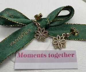 Pandora 14ct Gold Lace Botanique Earrings, 250323CZ Genuine Ale Authentic