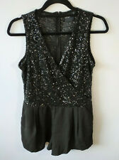 Asos Petite Sequin Playsuit Romper Black Pockets Cross Front Xmas Party Size 14