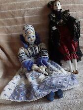 2 Puppen russisch/ slawische Folklore-Puppe Gr.55cm und Pierrot Puppe 46cm