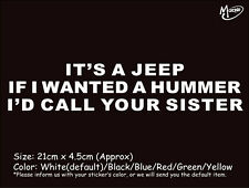 IT'S A JEEP IF I WANTED A HUMMER funny reflective car truck stickers Best gift-