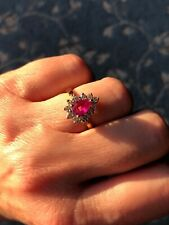 .7 ct Diamond Cluster Ring Gorgeous .65 ct Pear Ruby and