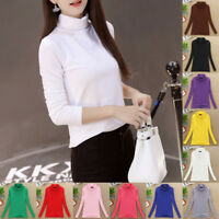 1PC Women Stretch Turtleneck Shirt Tops Bottoming Long Sleeve Cotton Blouse NEW