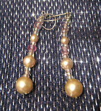 Very pretty silver tone metal earrings with faux pearls and beads