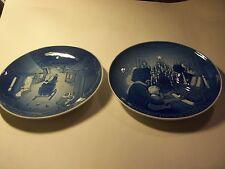 "Pair Of Bing & Grondahl Copenhagen Porcelain ""White Xmas / Xmas At Home Plates"