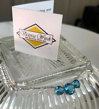 Victoria Wieck Sterling Silver 3 Stone Blue Topaz Necklace - HSN