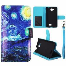 For LG Optimus F60 Wallet Blue Design Cover Split Leather Case Uni