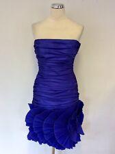 FRANK USHER BLUE STRAPLESS PLEATED FAN TRIM COCKTAIL DRESS SIZE UK 10 FIT UK 8