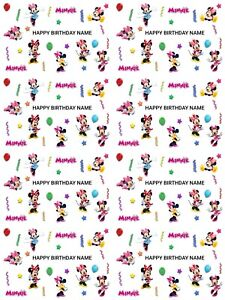 Minnie Mouse Personalised Birthday Gift Wrapping Paper 3 Designs ADD NAME